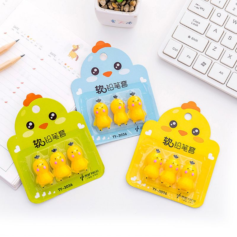 3pcs/pack Creative Carrot Chick Pen Pencil Cap Sleeve Cover Extender Protector Office School Supplies Stationery