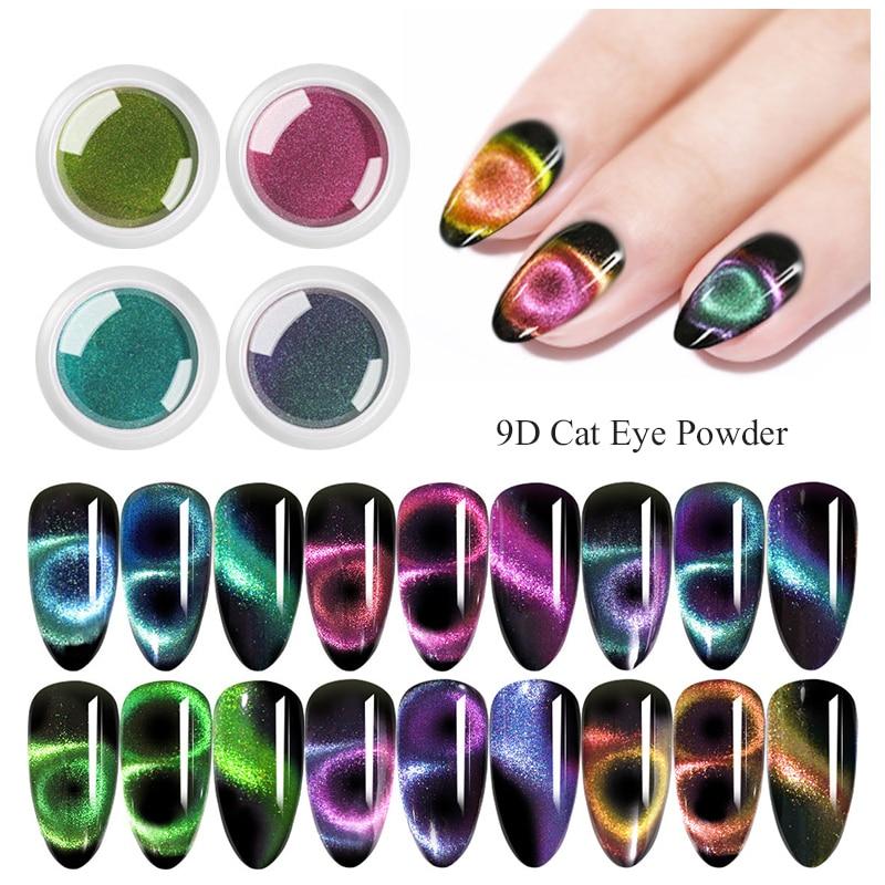 Caixa Camaleão 1 GlitterMagnet Olho de Gato Prego Glitter Pó UV Gel Nail Art Decoração Base de Pigmento Preto Necessário