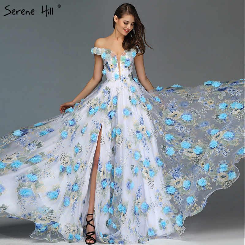 כחול בעבודת יד פרחים מודפס ערב שמלות כבוי כתף ארוך פורמליות שמלת המפלגה שמלת Vestido דה Festa לונגו BLA6660