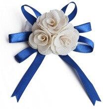 7piece/lot Wedding Silk Rose Wrist Flower Bride bridesmaid Corsage Bracelet Hand Accessories SW004