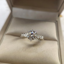 925 Silver Passed Diamond Test Mossanite Ring Perfect Cut 1ct 2ct D Color VVS1 Engagement Wedding Rings for Women