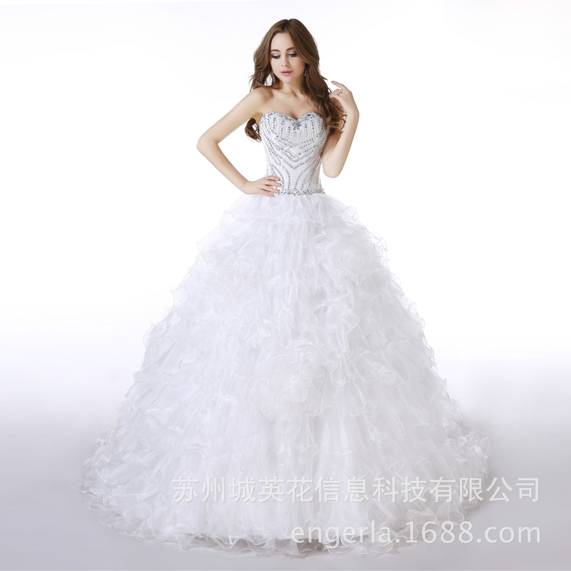 Luxury Crystal Beads Sweetheart Princess Wedding Dress Ball Gown Plus Size Court Train Organza Tulle Wedding Dresses Trouwjurk