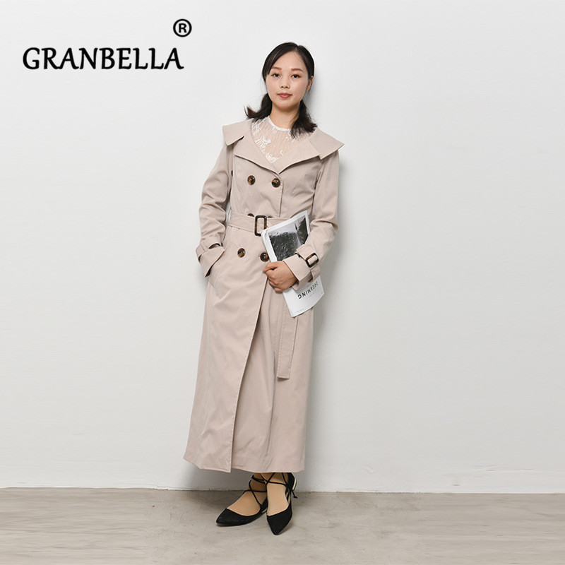 Fashion Long Slim Temperament Outerwear For Women With Belt Elegant Solid Color Lapel Full Sleeve Long   Trench   Coat