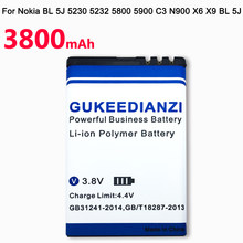 GUKEEDIANZI 3800mAh BL-5J BL5J BL 5J Phone Battery For Nokia 5230 5233 5800 3020 XpressMusic N900 C3 Lumia 520 525 530 5900(China)