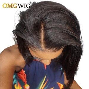 4X4 Closure Wig 150% Pixie Short Straight Bob Cut Blunt Lace Closure Human Hair Wigs For Black Women Remy Brazilian Preplucked