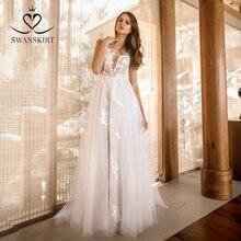 Suknia ślubna Boho aplikacja line moda różowy dekolt koronki Vestido de novia 2020 Illusion księżniczka Swanskirt GY32 suknia ślubna