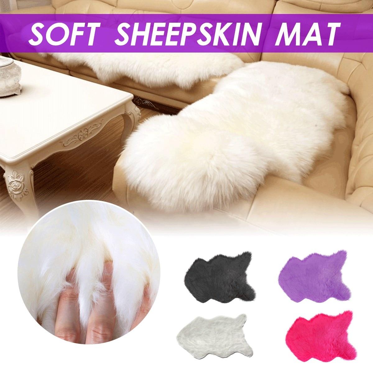 Soft Artificial Sheepskin Carpet For Living Room Kids Bedroom Chair Cover Fluffy Hairy Anti-Slip Faux Fur Rug Floor Mat