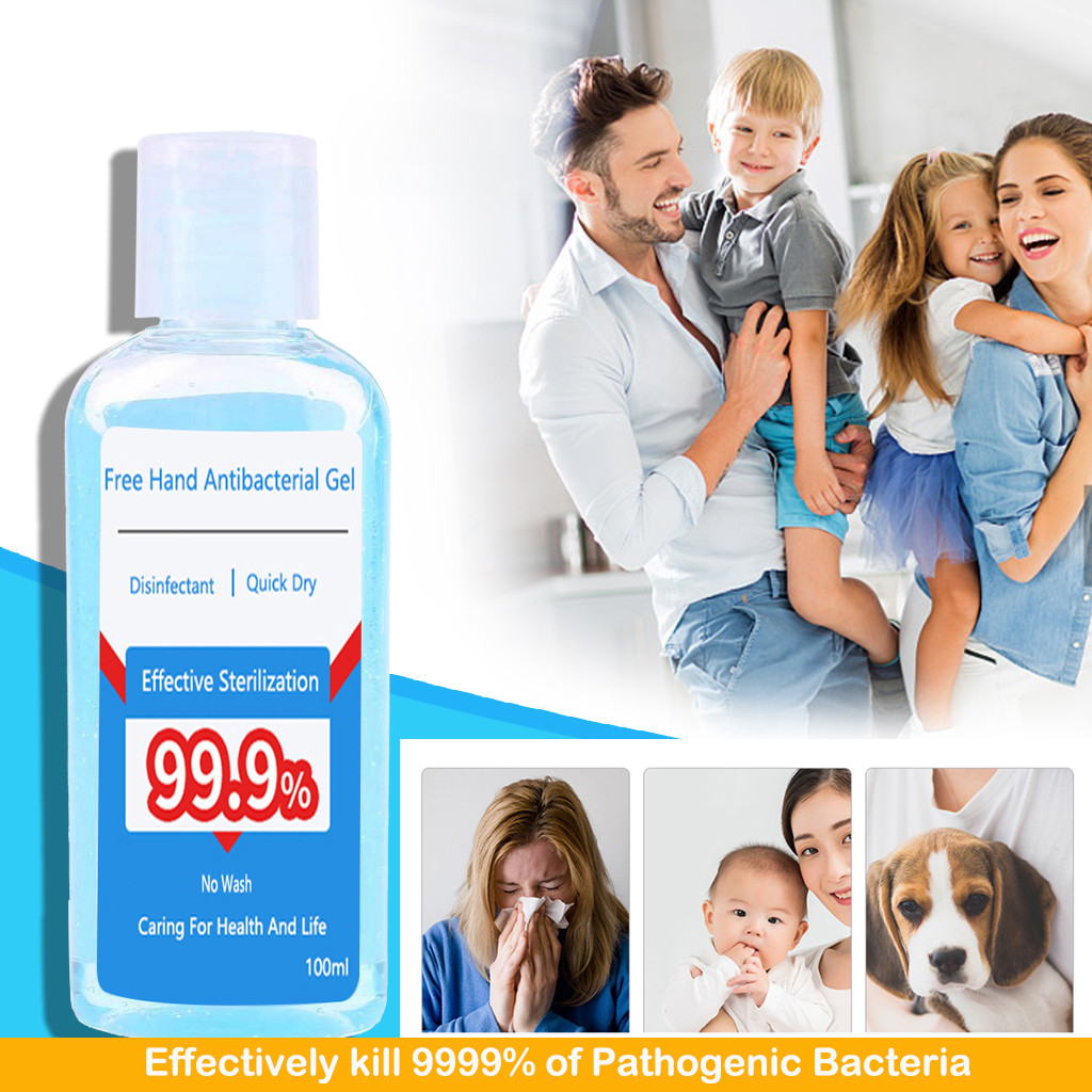 100ml 75% Quick-drying Alcohol Disposable Hand Sanitizer Hands-Free Water Disinfecting Hand Wash Gel Alcohol-Free