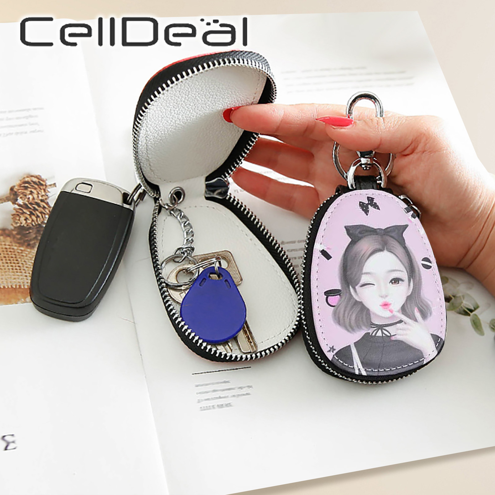 Fashion Painted Design Key Bag for Women Small Leather Key Wallets Housekeepers Car Key Holder Case New Leather Keychain Pouch