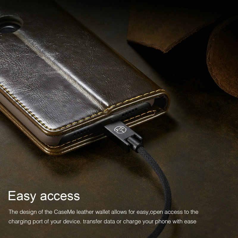 Ngựa Điên Folio Từ PU Ví Da Dành Cho Xiaomi 8 A2 Lite Redmi Note 6 Pro 6A Ốp Lưng Điện Thoại lật Túi Đứng Bao Da