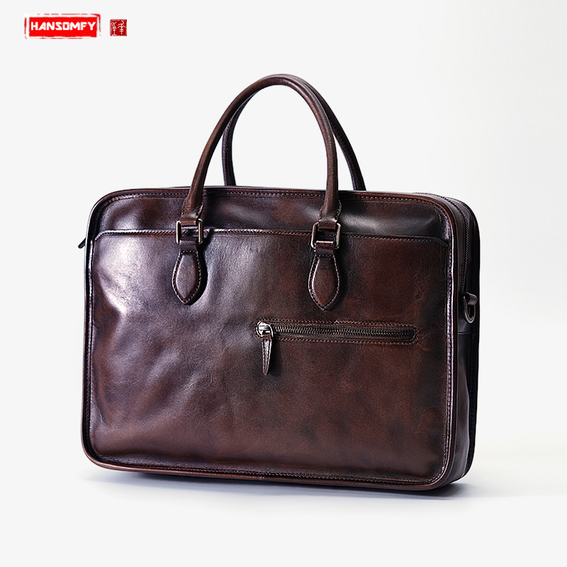 Handmade Leather Men's Bag Laptop Handbag Portable Retro Business Briefcase First Layer Leather Men Shoulder Slung Computer Bags