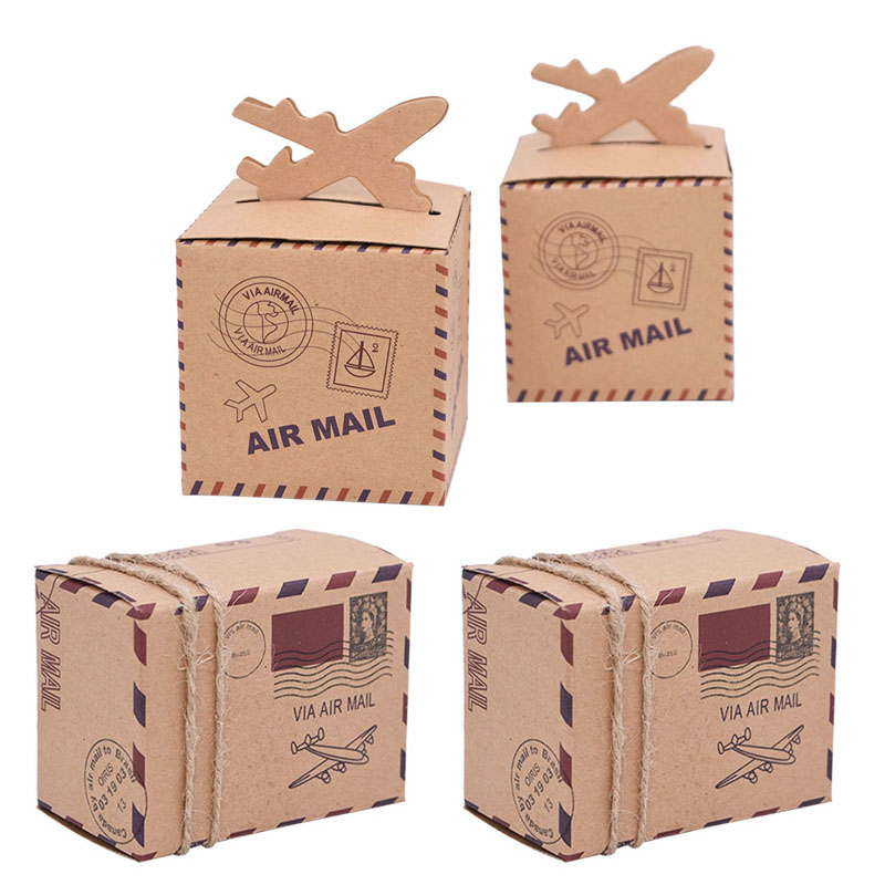 10/20/30pcs Air Mail Airplane Travel Theme Candy Box Vintage Kraft Paper Suitcase Candy Box With Rope For Wedding Birthday Decor