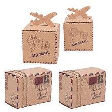 Caja de caramelos de papel Kraft clásico con cuerda para decoración de cumpleaños bodas 10/20/30 Uds. Air Mail Airplane