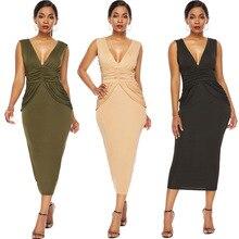 2019 Summer Sexy Deep V-neck Solid Color Halter Nightclub Womens Pleated Waist Pocket Hip Dress