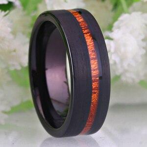 Image 2 - Bruiloft Sieraden Ringen Forwoman Mannen Hout Inlay Ring Nieuwe Tungsten Ringen Voor Mannen Bruidegom Bruiloft Engagement Anniversary Ring