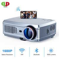 Potente proyector Full HD 1080P proyector de LED 3D proyector de vídeo HDMI de 4K Smart Android 7,1 (2G + 16G) Wifi inalámbrico de cine en casa