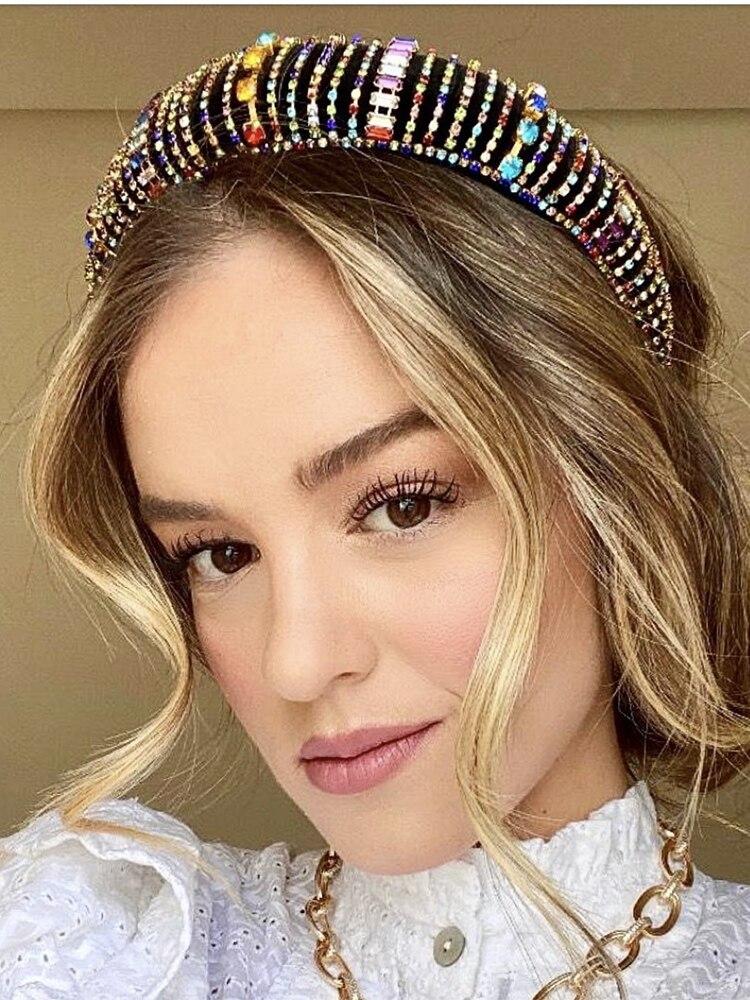 Haimeikang Velvet Hairbands Sponge Rhinestones Colored Thick Fashion Luxury Bride Gorgeous