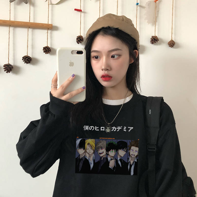 Japan Bf Autumn My Hero Academia Pullover Female Fashion Cute Girl Casual Loose Long Sleeve Round Neck Hoodies Sweatshirts