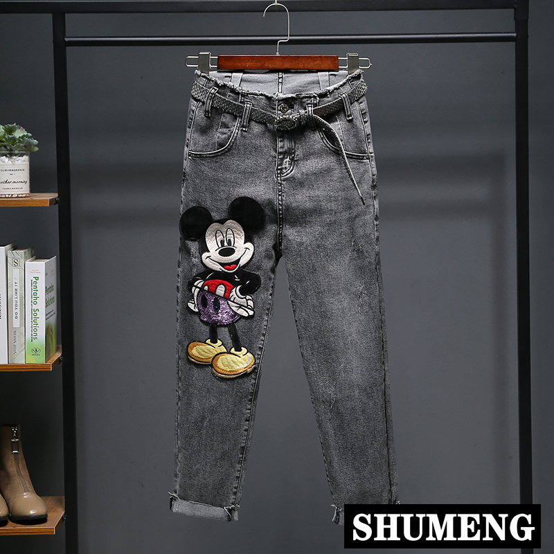 2020 Spring New Cowboy Harem Pants Female Cartoon Embroidery High-Waisted Stretch Jeans Pants Female Student Denim Trousers