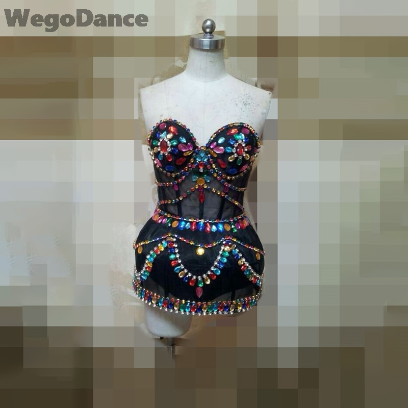 New Women Rhinestones Sexy Shining Big Crystals Mesh Chains Outfit Nightclub Party Wear See Through Costume