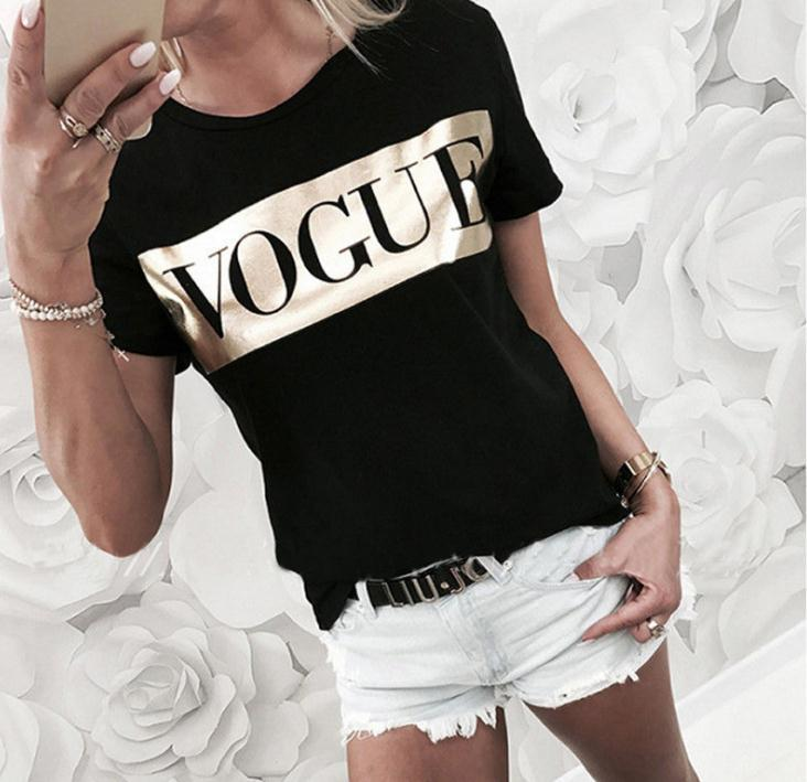Golden Vogue Letter Print T Shirt Women Short Sleeve O Neck Loose Tshirt 2020 Summer Women Tee Shirt Tops Camisetas Mujer