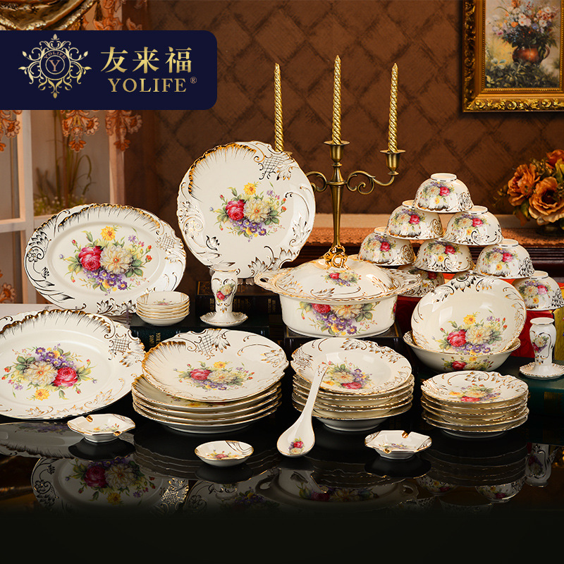 56pieces wedding decoration European Ceramic Tableware Bowl Plate Gift Box Catering Set Plate Soup Bowl Juice Piper Bottle