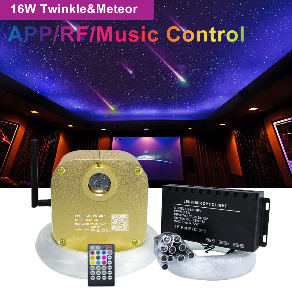 16W RGBW Twinkle  Smart Bluetooth APP Fiber Optic Star Ceiling Kit Mixed 335/430pcs*(0.75+1.0+1.5mm) with Shooting Meteor Effect