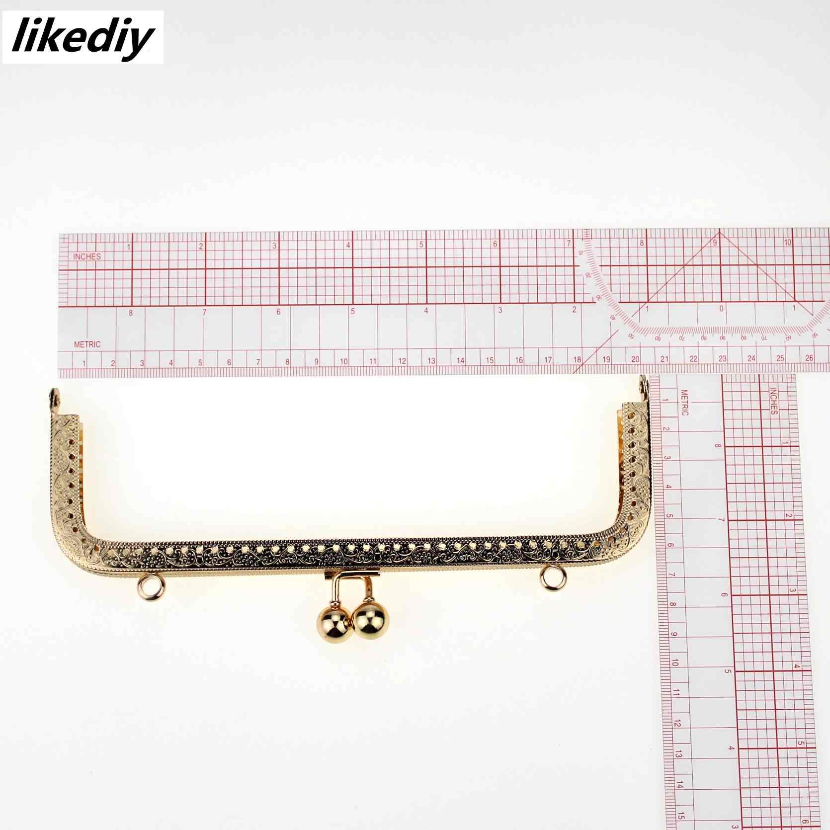 Image 2 - 5 pcs/lot 20 cm large size square embossing metal purse frame Kiss clasp bead head DIY bag accessory 5 colorsBag Parts & Accessories   -