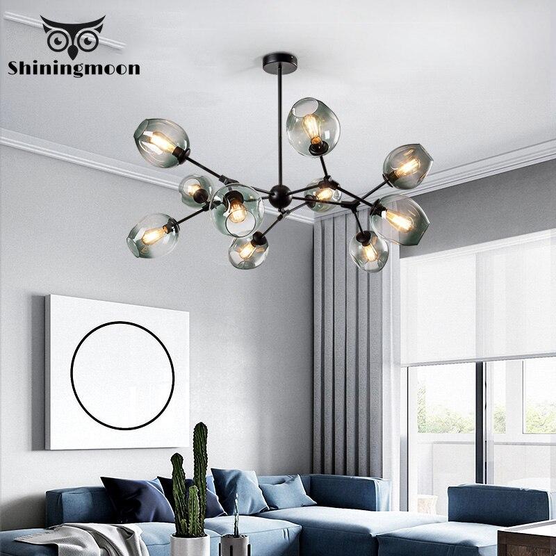 modern glass shade Magic bean chandelier lighting nordic design glod black chandelier lustre decor living room bedroom lustres