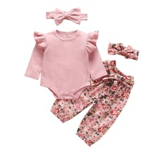 Newborn Girl 4pcs Clothing Sets 2020 Sping Autumn Floral Pants+Romper+Headband Outfits Babies Clothes E20478 cheap JORGE AMADO COTTON Fashion O-Neck Pullover Full REGULAR Fits true to size take your normal size Combed Cotton Coat Baby Girls
