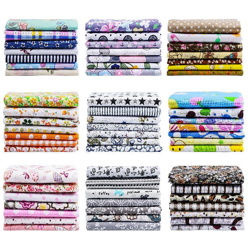 Hdfc052aabf4b497fa695b2155212277fF 25x25cm and 10x10cm Cotton Fabric Printed Cloth Sewing Quilting Fabrics for Patchwork Needlework DIY Handmade Accessories T7866