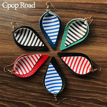 Cpop New Double Layers Zebra Genuine Leather Earrings Creative Leaf Pendant Fashion Jewelry Women Accessories Gift 2019