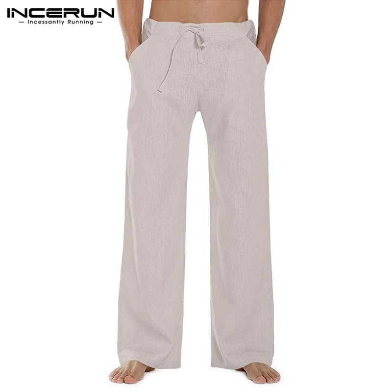 INCERUN 2020 Men Casual Straight Pants Solid Color Fashion Harajuku Leisure Drawstring Trousers Men Streetwear Pantalones Hombre