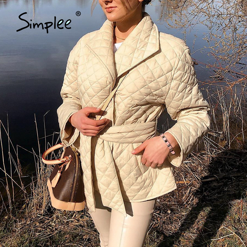 Simplee winter coat, long and straight with diamond pattern Casual belts for women  6
