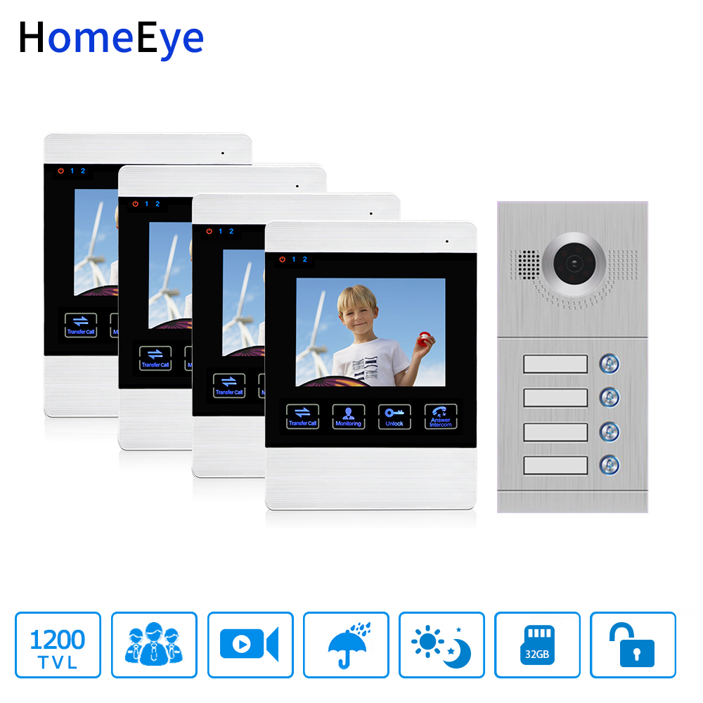 4'' Wired Video Door Phone Video Intercom 4-Apartments Door Access Control System 4 Separate Family Motion Detection OSD Menu