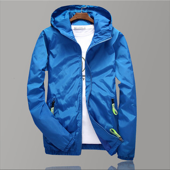 5XL Men's Windbreaker Jackets Streetwear Blue 2019 New Men Jacket Autumn Hooded Windbreaker Sport Oversized Long Jacket Men pinkwin blue 5xl