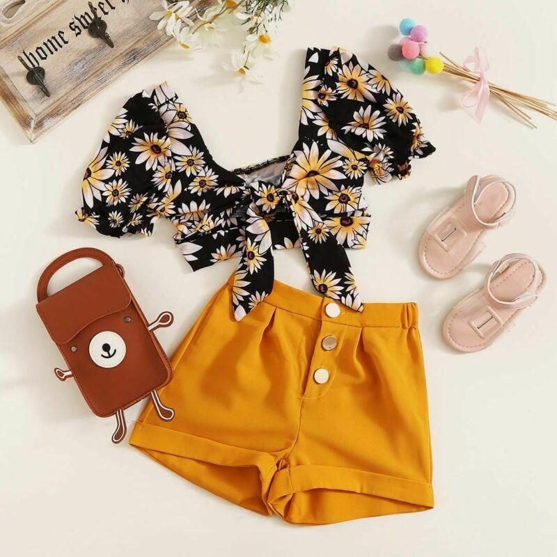 Летняя одежда для малышей 2020, топы с открытыми плечами и цветочным рисунком для маленьких девочек, укороченные шорты, штаны, одежда