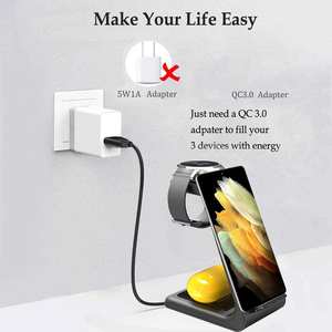 Image 4 - 15W Wireless Charger QI 3 in 1 Wireless Charging Station For Samsung Galaxy S20 S10 S9 Buds+ Watch Active2/1 iPhone 12/11/X/8