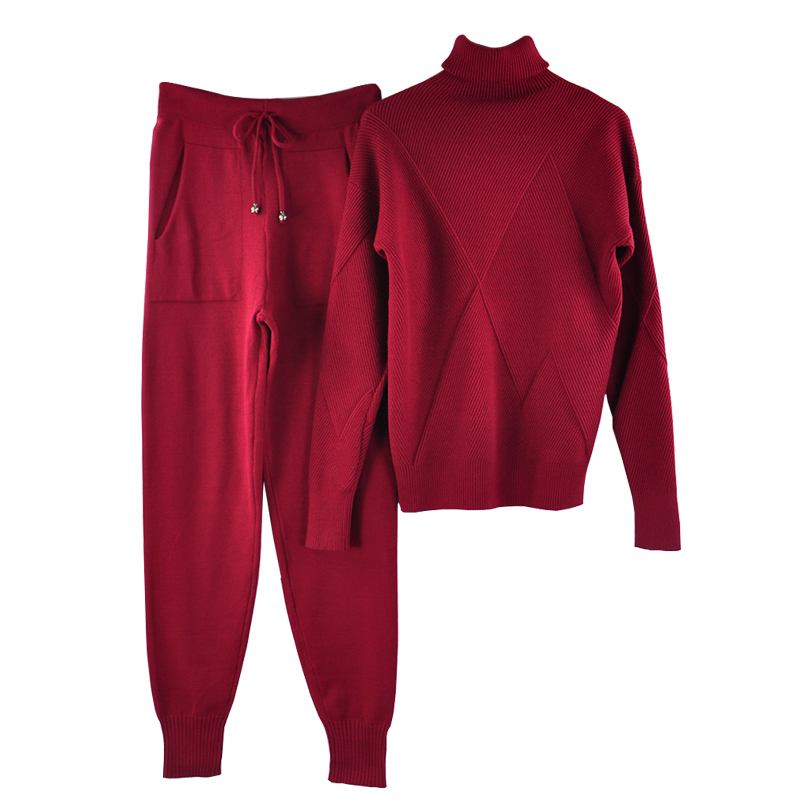 Image 5 - TAOVK осенний вязаный спортивный костюм свитер с воротником  повседневные Костюмы женские трикотажные пуловеры и длинные штаны  комплект из 2 предметов женскийЖенские комплекты