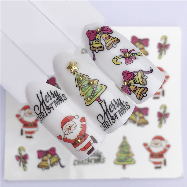 New Style Manicure Christmas Nail Sticker Elk Snowman Snowflake Bell Christmas Tree Watermark Nail Sticker Flower Jewelry