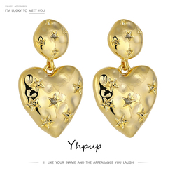 Yhpup Stylish Star Heart Dangle Earrings 16 K Golden Copper Earrings for Women Statement серьги Accessories Anniversary Gift