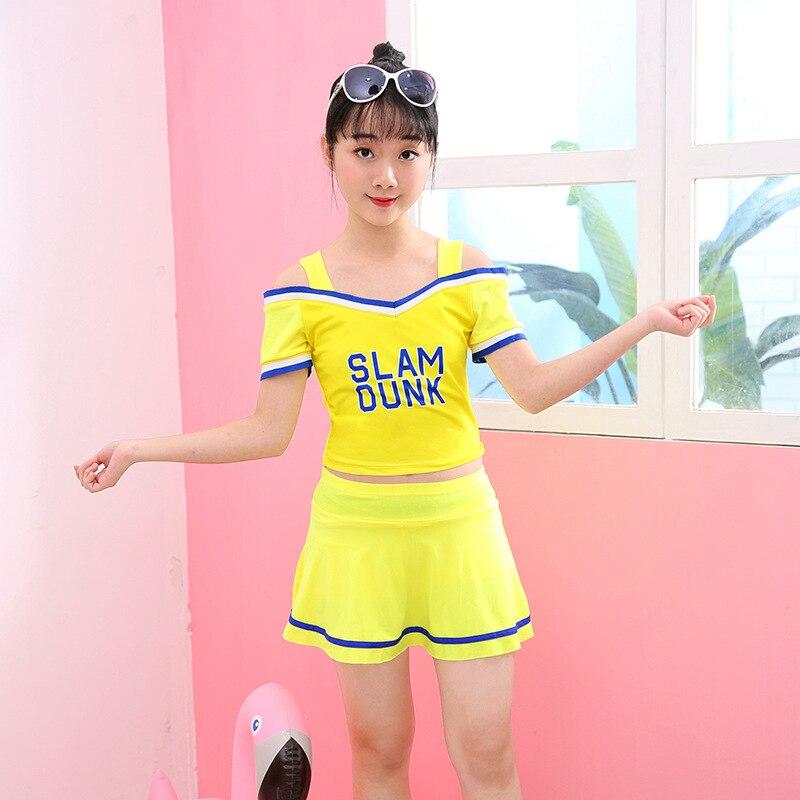 Drop Love For Water Big Boy Boxer Swim Bathing Suit Women's Sporty Camisole Split Type Large Hem Girls KID'S Swimwear