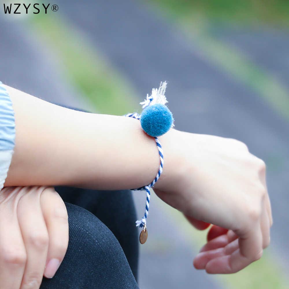 חמוד צבעים בוהקים ציצית צמר כדור יד ארוג טהור כותנה מתכוונן צמיד ילדה אופנה לאומי סגנון תכשיטים