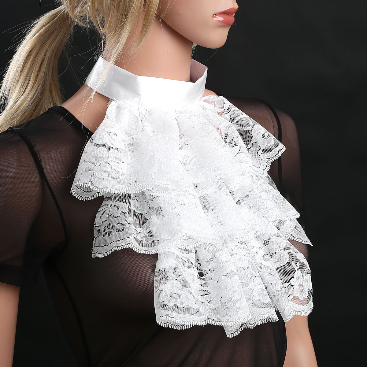 Fake Collar Victorian Renaissance Detachable Collar Ruffled Lace Jabot Neck Collar Stage Party Fancy Steampunk Costume Accessory