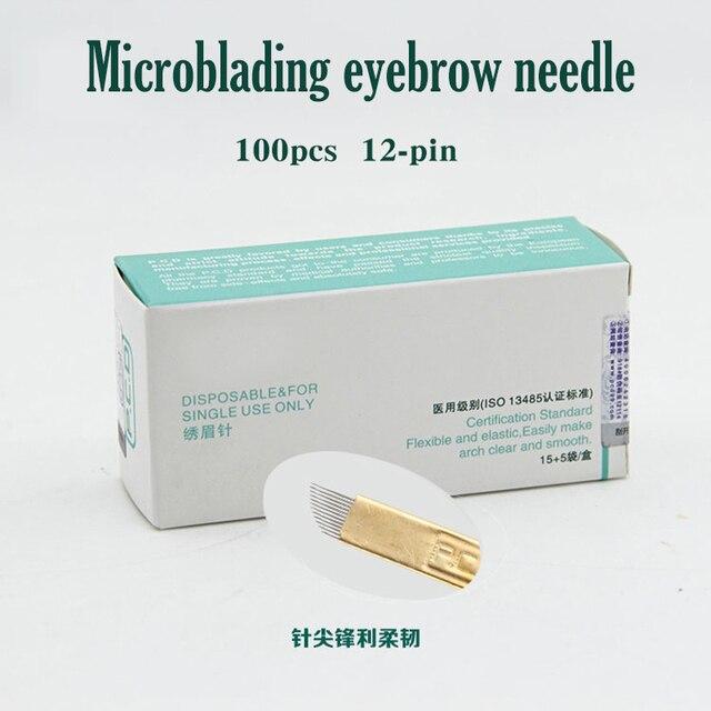 100 adet 12 Pin kalıcı makyaj kaş dövme bıçağı için Microblading İğneler 3D nakış manuel dövme kalemi makinesi