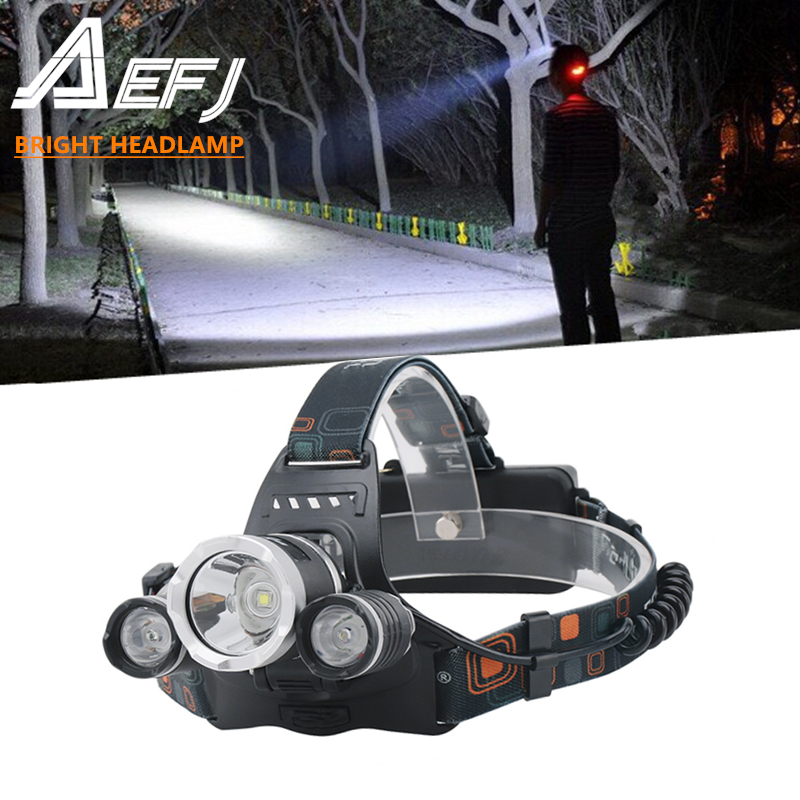AEFJ 5000LM 5 LED T6 2R5 LED Headlamp Headlight Head Lamp lighting Light Flashlight Torch Lantern Fishing