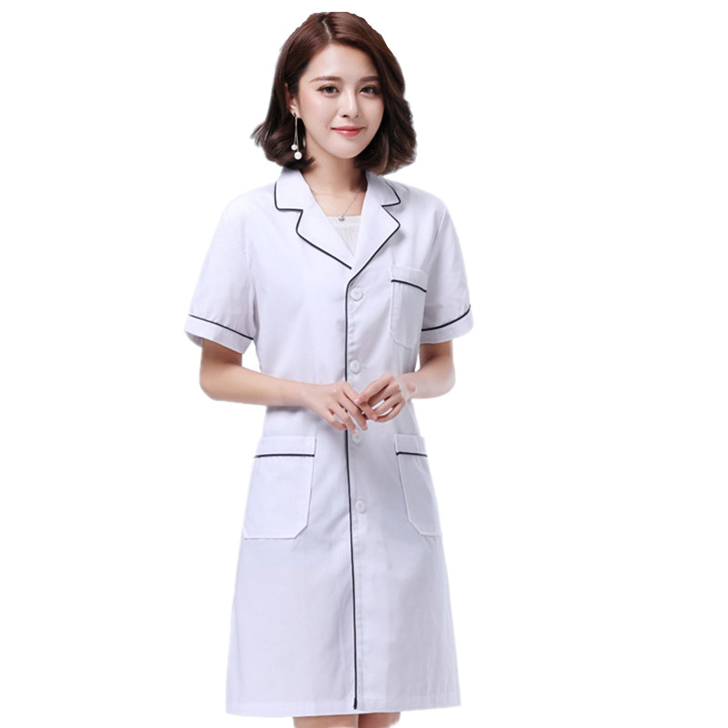 Medical Clothing Women Medical Gown Lab Coats Summer Short-sleeved White Doctor Nurse Beauty Parlor Artist Medical Uniform
