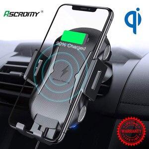 Image 1 - הידוק אוטומטי אלחוטי מטען לרכב הר 10W 7.5W Qi טעינה מהירה אוויר Vent טלפון מחזיק עבור iPhone X סמסונג Xiaomi Huawei
