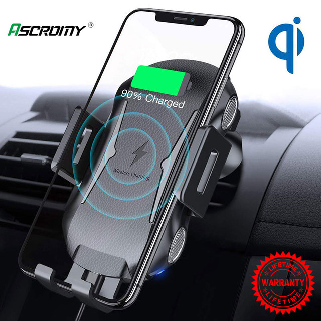 Support de chargeur de voiture sans fil de serrage automatique 10W 7.5W Qi support de téléphone dévent de charge rapide pour iPhone X Samsung Xiaomi Huawei