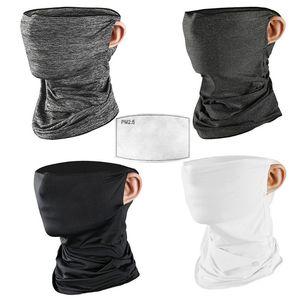 Unisexe glace soie cou guêtre masque avec filtre boucles d'oreille cyclisme sans couture Bandana cou guêtre